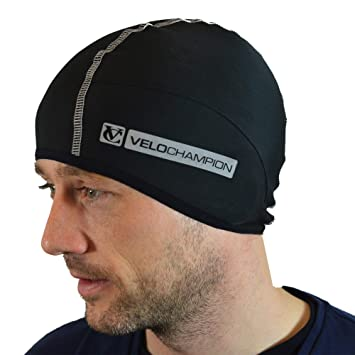 d72779d047a VeloChampion Thermo Tech Cycling Skull Cap – Windproof Thermal Under Helmet  Hat – Stretchable Tight
