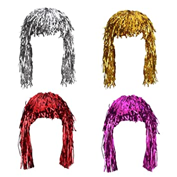 Amazon.com: Sumind 4 Pieces Foil Tinsel Wigs Fancy Dress Shiny Party Wig Metallic Costume Cosplay Supplies (Gold, Silver, Red and Pink): Toys & Games