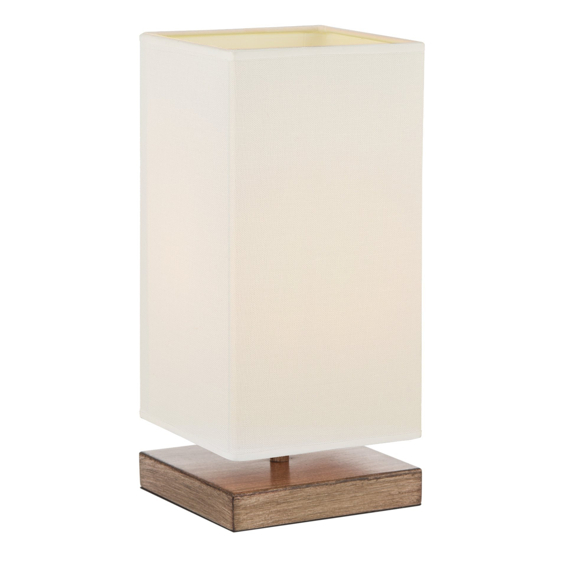 Kira Home Lucerna 13'' Touch Bedside Table Lamp + 4W LED Bulb (40W eq.) Energy Efficient, Eco-Friendly, Wood Style Finish + White Canvas Shade