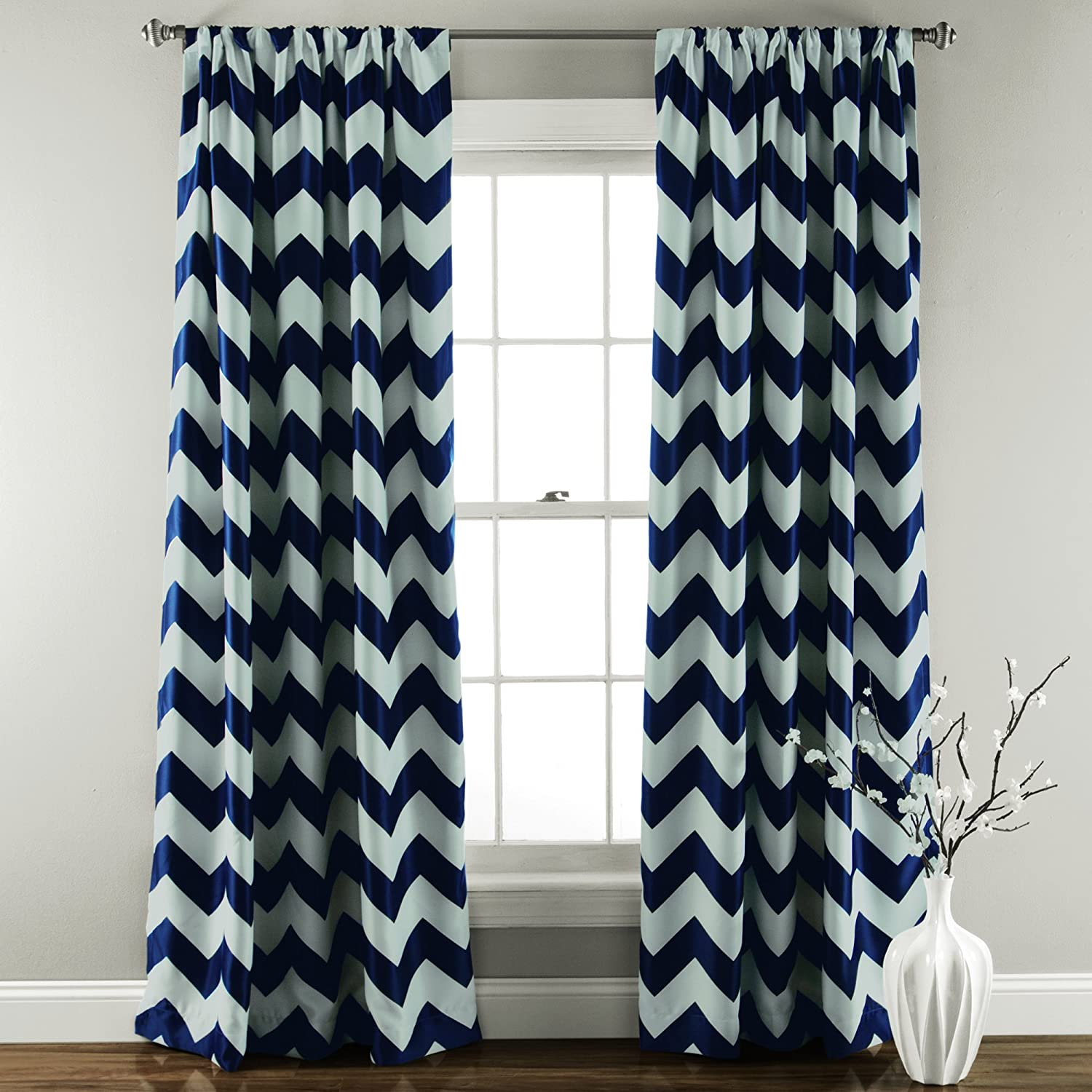 Navy curtains blackout - Amazon Com Lush Decor Chevron Blackout Window Curtain 84 By 52 Inch Gray Set Of 2 Home Kitchen