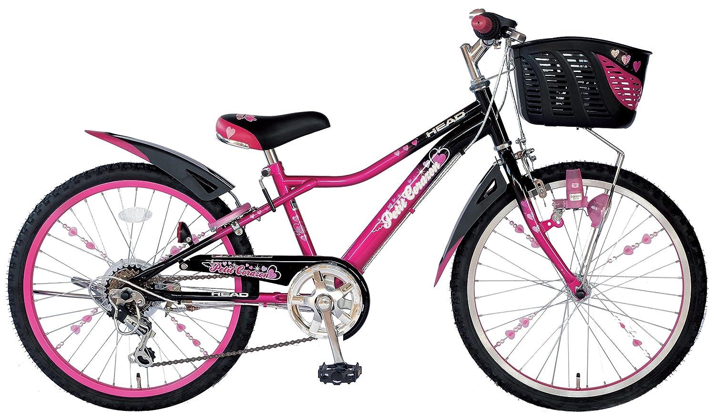HEAD(ヘッド) キッズバイク Petit Corazon [プチコラソン] [オリジナルサドル/スポークアクセサリー付き/LEDライト搭載/6SPEEDS] B06XQQQXJB 20インチ|ブラック×ピンク ブラック×ピンク 20インチ
