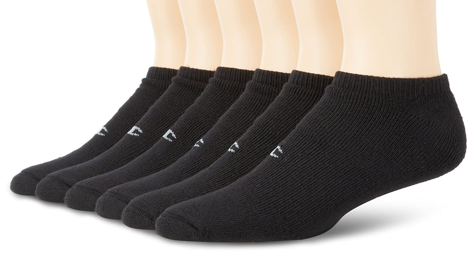 Amazon.com: Champion Mens 6 Pack No Show Sock, Black, Shoe Size 6-12: Clothing