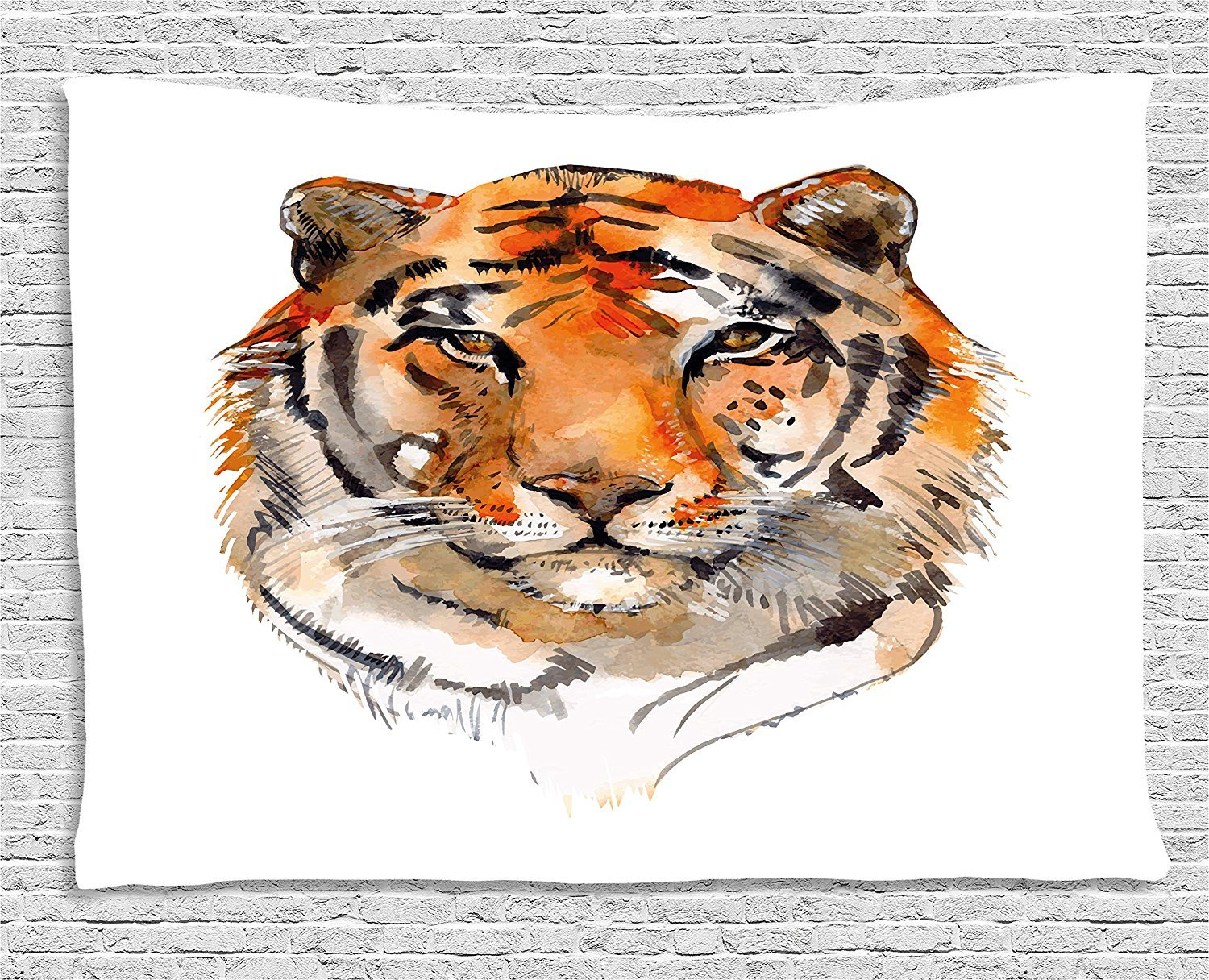 Tiger Tapestry, Feline Animal with Calming Stare Hand Drawn Watercolor Art Exotic Wildcat Hunter, Wall Hanging for Bedroom Living Room Dorm, 80 W X 60 L Inches, Orange Black