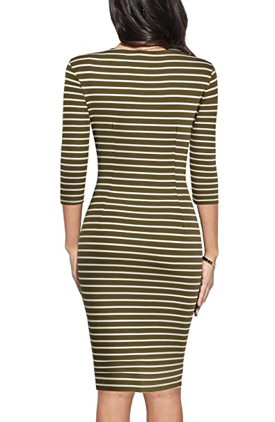 4725b57e03 REPHYLLIS Women 3/4 Sleeve Striped Wear to Work Business Cocktail Pencil  Dress at Amazon Women's Clothing store: