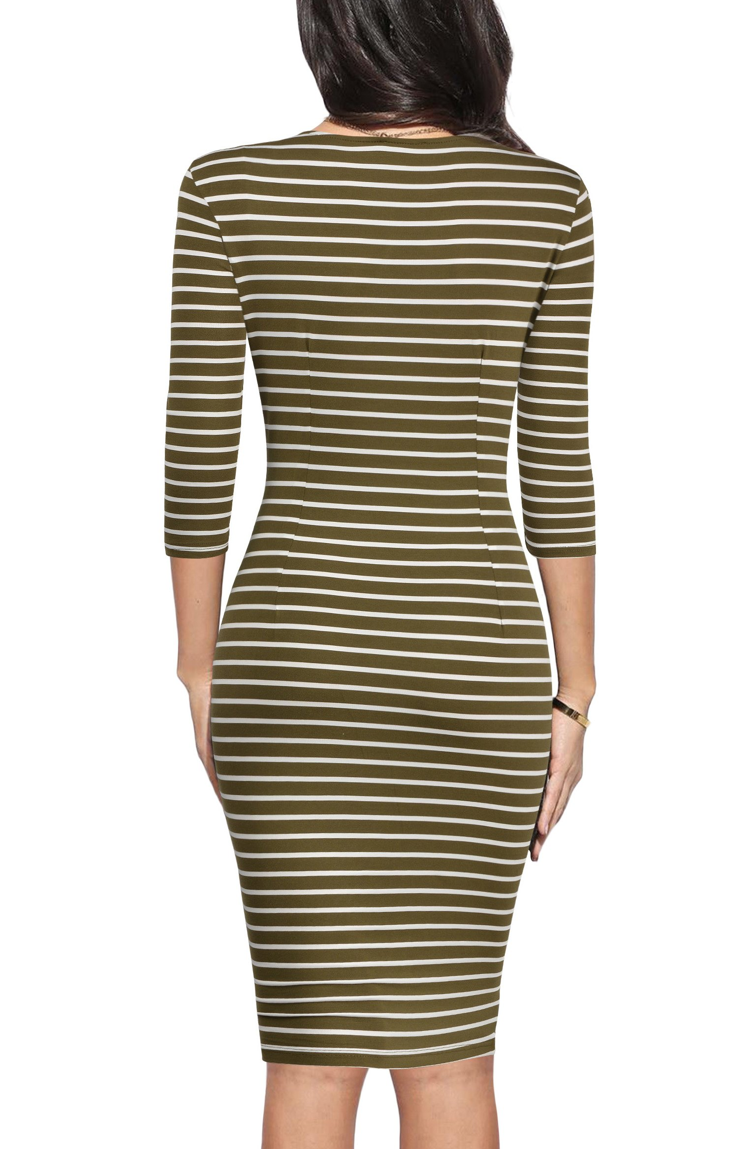 REPHYLLIS Women 3/4 Sleeve Striped Wear to Work Business Cocktail Pencil Dress (Small, Armygreen) by REPHYLLIS® (Image #3)
