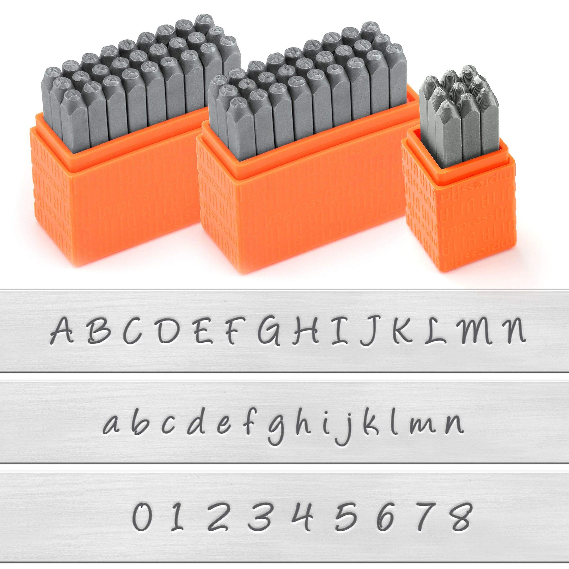 ImpressArt - Basic Bridgette Letter Metal Stamps and Number Metal Stamp Kit - Complete Set of 3 - Uppercase/Lowercase/Number - 3MM by ImpressArt