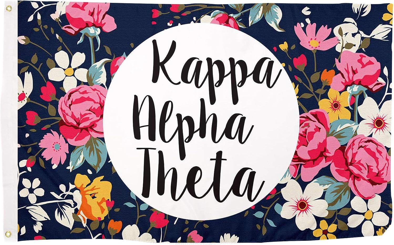 Desert Cactus Kappa Alpha Theta Floral Pattern Letter Sorority Flag Greek Banner Large 3 feet x 5 feet Sign Decor
