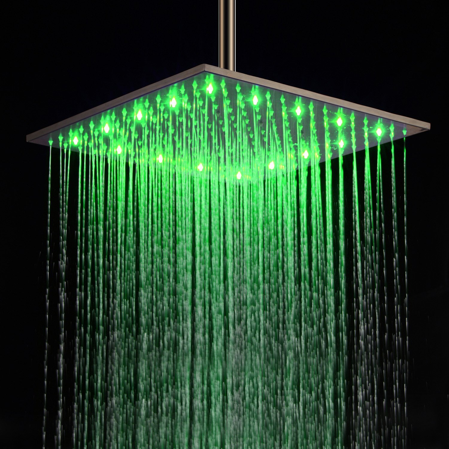 16 Inch Ceiling Mount Square Rainfall LED Shower Head, Stainless ...
