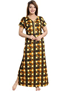 a7a0d1673f TUCUTE Women s Checks Print Nighty Night Gown Nightwear Nightdress Sleepwear  with Long