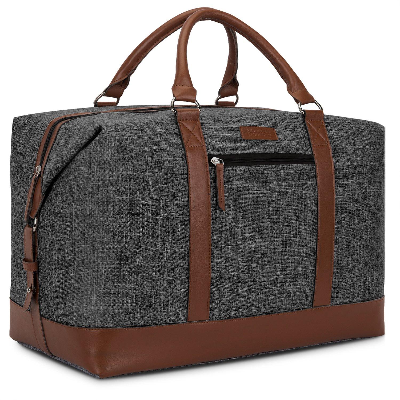 NiceEbag Weekender Duffel Bag With Micro Fiber Leather Handle 48L Water-Resistant Large Travel Bag For Business Trip