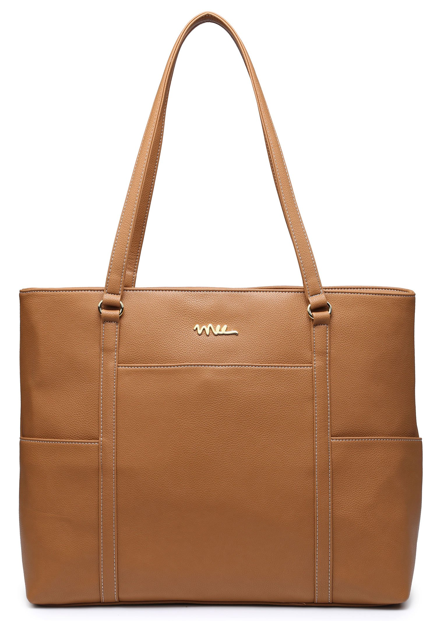 NNEE Classic Laptop Leather Tote Bag for 15 15.6 inch Notebook Computers Travel Carrying Bag with Smart Trolley Strap Design - Light Brown