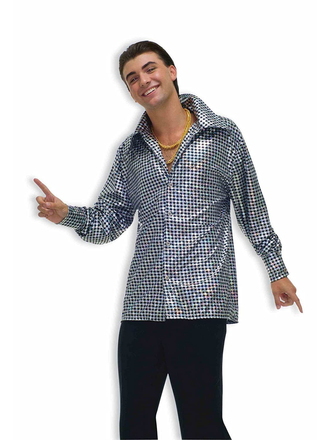 44851f465bf68e Disco dude costume top. Wide-collared shirt with shining checked print  design. Plus size for men best fits jacket sizes 44-48. Search forum 70 s  disco fever ...