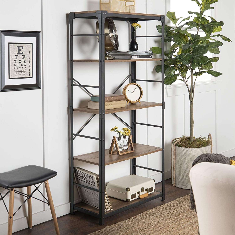 WE Furniture 4 Shelf Industrial Farmhouse Wood Metal Bookcase Bookshelf Storage, 64 Inch, Brown Reclaimed Barnwood