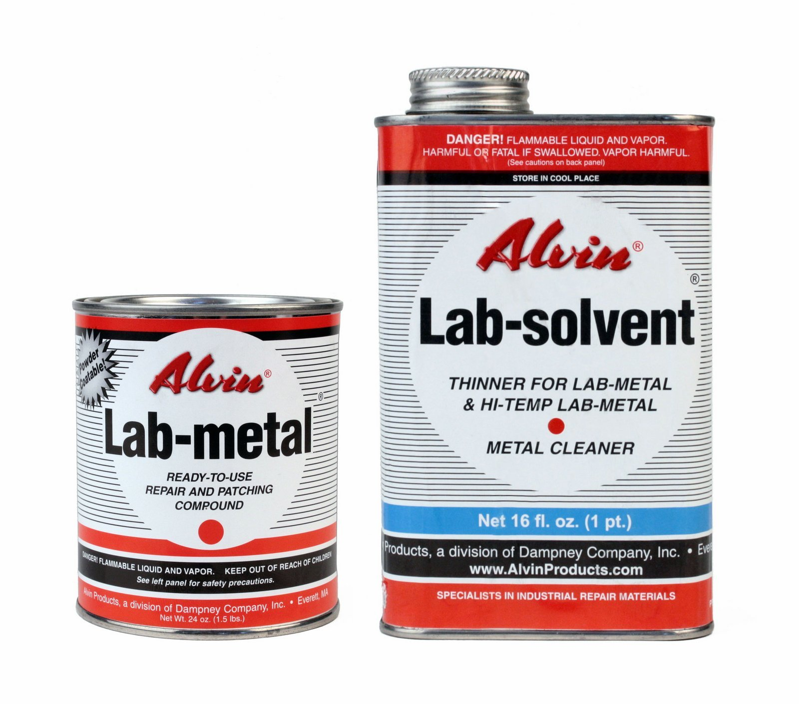 Alvin 24 oz Lab Metal & 16 oz Lab Solvent Kit Putty Dent Filler & Patching Compound Epoxy