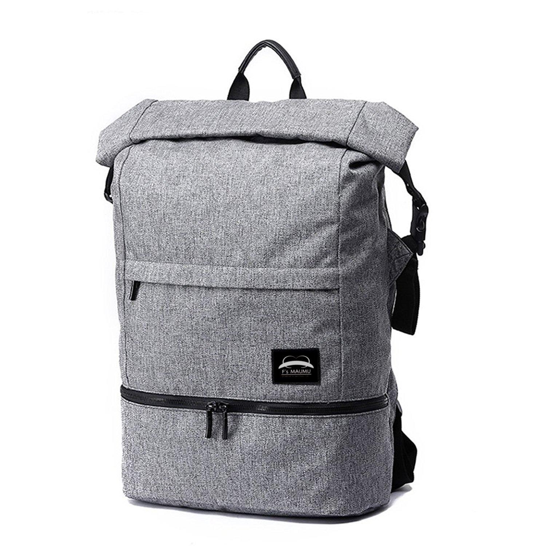 バック パック リュック 防水 撥水 軽量 多機能 型 Georiem Back pack 選べる ブラック & グレー 2 色 B0797YWRHH  グレー