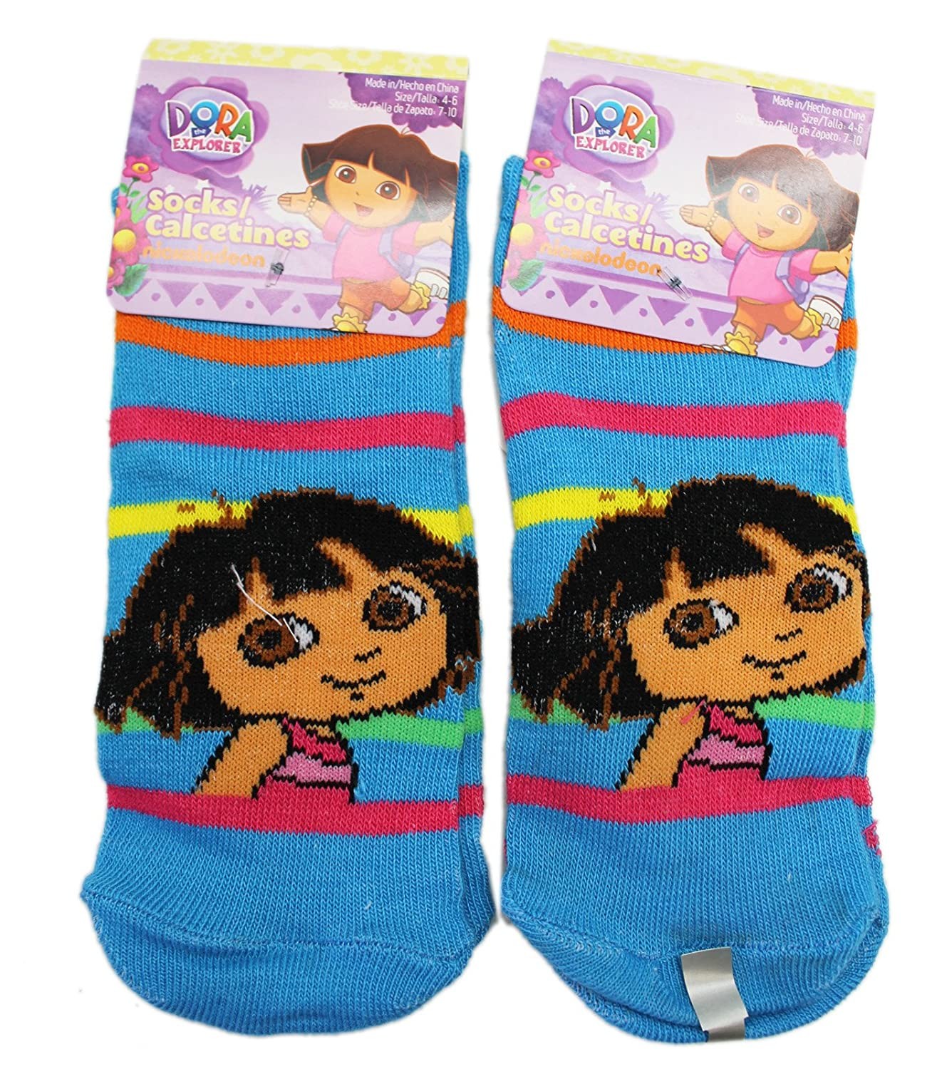 Amazon.com: Dora the Explorer Sky Blue Striped Kids Socks (Size 4-6, 2 Pairs): Clothing