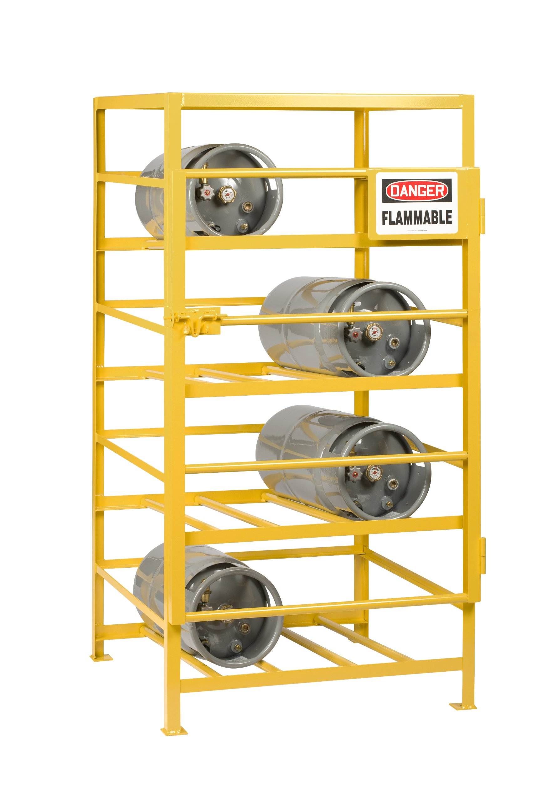 Little Giant GSC-3648-70 Industrial Gas Cylinder Cage, 12 Cylinders Capacity, 70'' Height x 48'' Width x 36'' Depth, Yellow