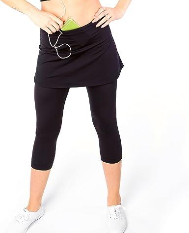 Women Sports Pantskirt Fitness Skirted Shorts w//Pocket for Running Exercise