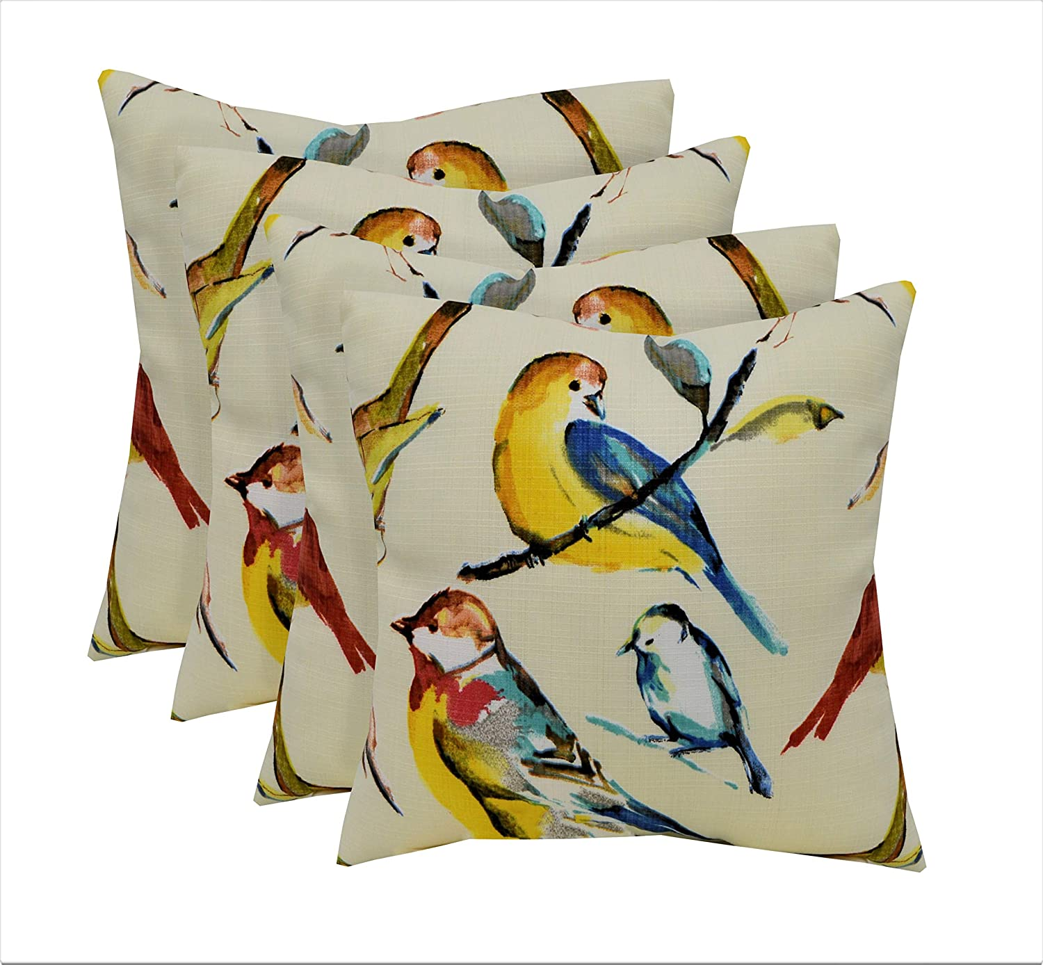 RSH D/écor Set of 4 Indoor//Outdoor Square Throw Pillows 17x17 Ivory Monet Birds