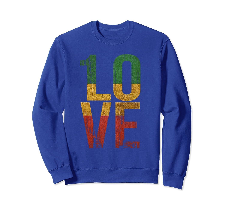 1 Love Reggae Inspired Graphic Sweater Rasta Roots Music-ln
