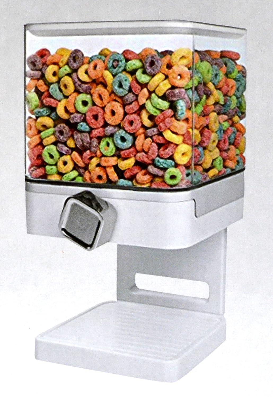 Doppio / singolo Dispensatore di cereali Secco cibo Contenitore macchina / immagazzinaggio detiene 19 once di alimento (Singolo Dispensatore Bianco) s&s
