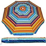 AMMSUN 2m Outdoor Patio Beach Umbrella Sun Shelter with Tilt Air Vent Carry Bag Multicolor Red