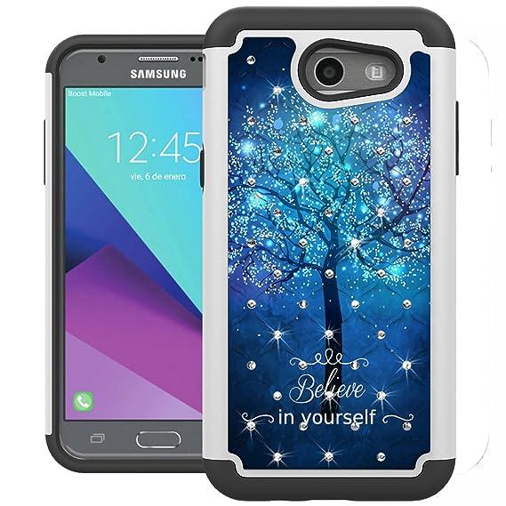 buy online 5a832 a8457 For Samsung Galaxy J3 Emerge Case, J3 2017 Case, J3 Prime Case, Amp Prime 2  Case, Express Prime 2 Case, UrSpeedtekLive [Shock Absorption] Studded ...