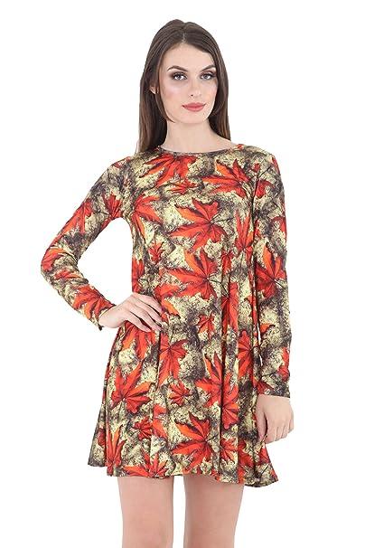 e26ddebb504b Classy Trendz Women Long Sleeve Floral Print Swing A Line Skater Dress at  Amazon Women s Clothing store