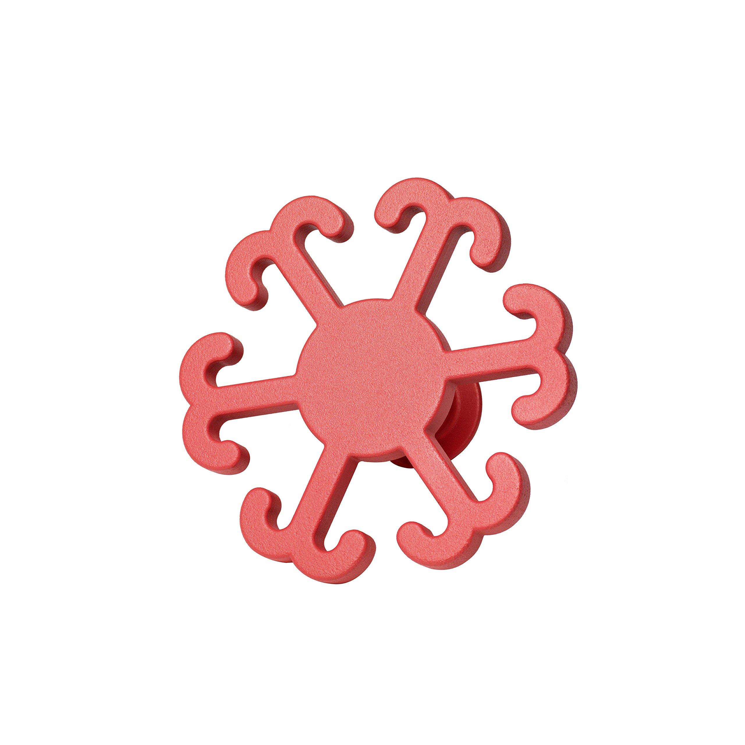 NakNak Hooks - Decorative Hanger - Aluminum Holder - Key Hook - Flower Shape - Red