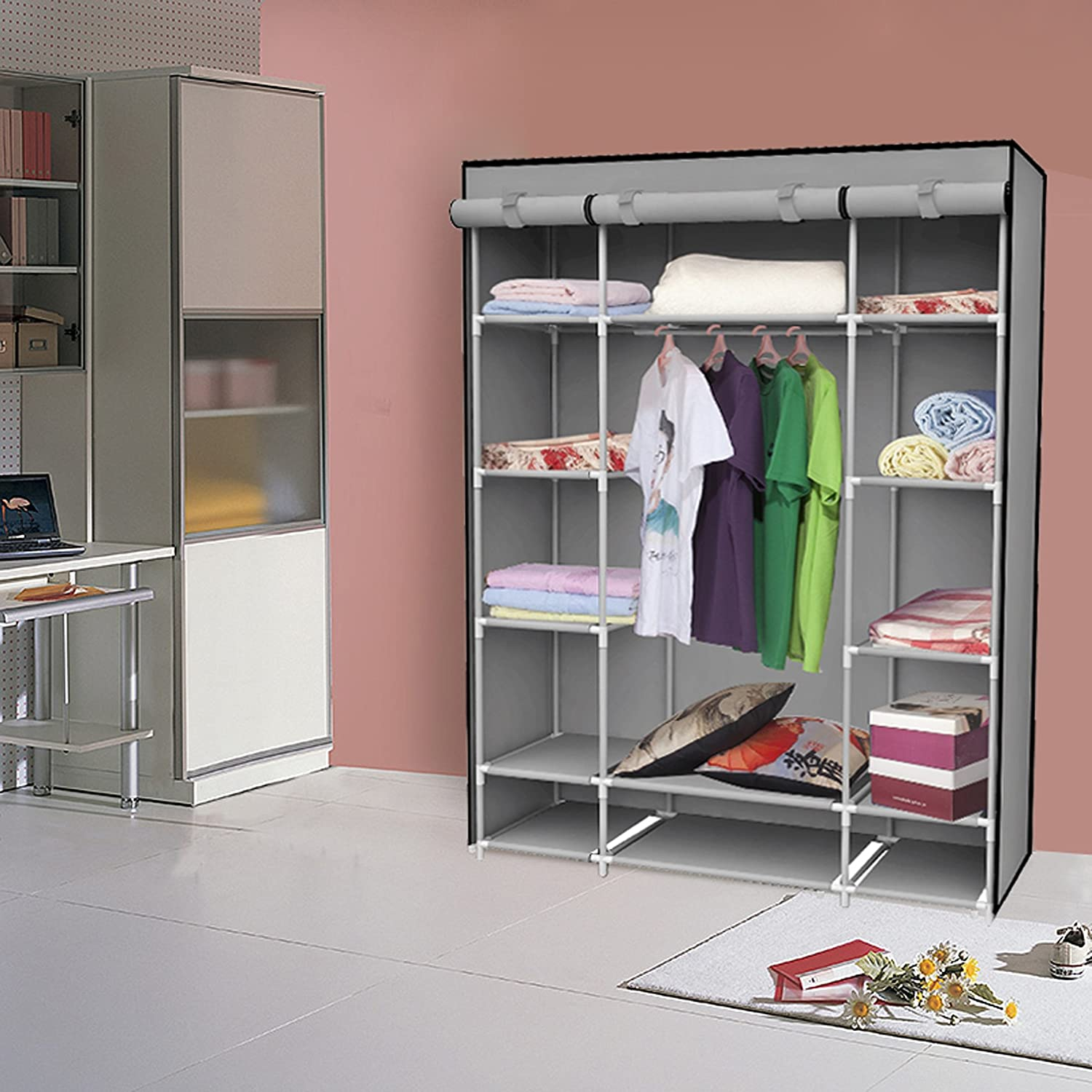 Amazon.com: IDS Portable Clothes Storage Closet With Shelves, 53 Inch,  Gray: Home U0026 Kitchen
