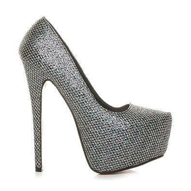 a1fd30929e6 Ajvani Womens ladies high heel platform pointed classic court shoes pumps size  3 36