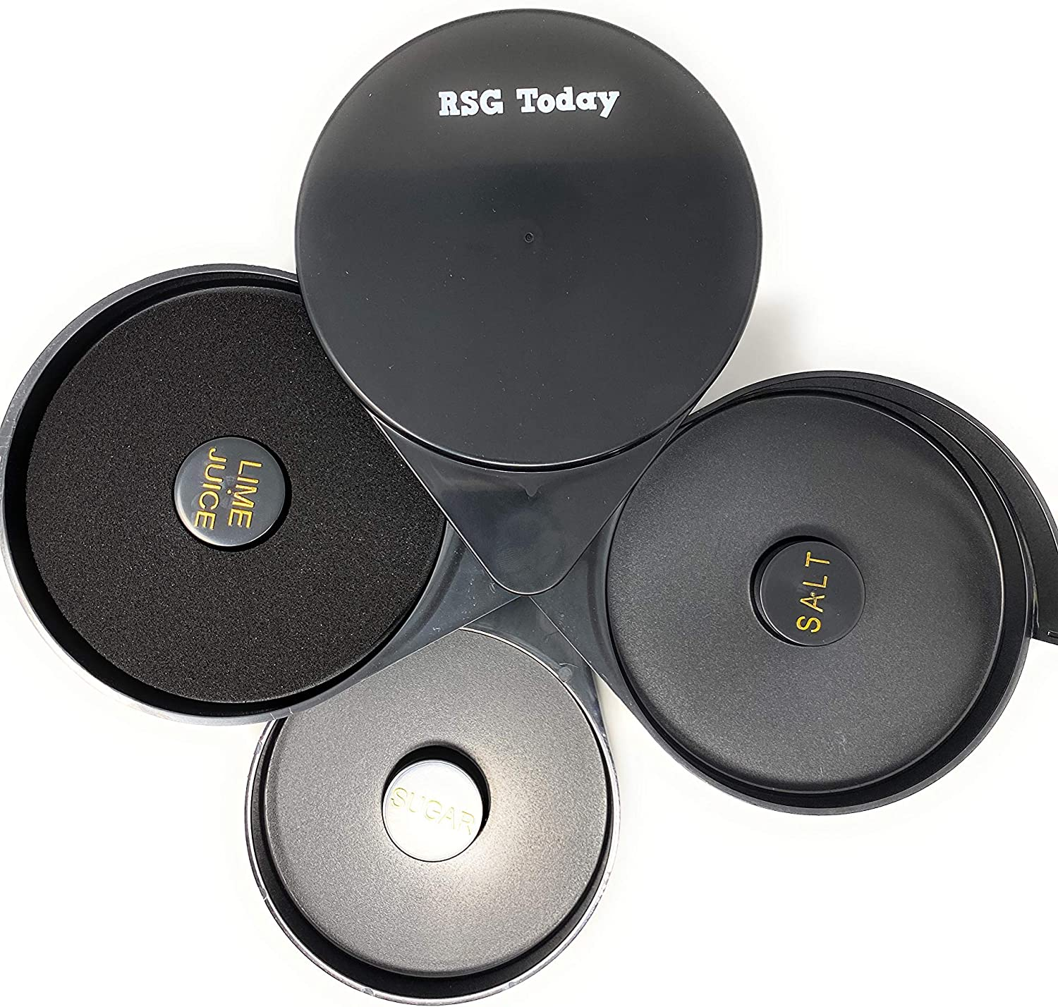| RSG TODAY Black Plastic Glass Rimmer and Margarita Salter with 3 Compartments: Rimming Salts & Sugars