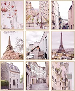 """Paris Decor for Bedroom, Pink Paris Poster Wall Art Light Pink City Pictures Home Office Living Room Wall Decor for Girls, 8"""" x 10"""",Unframed"""