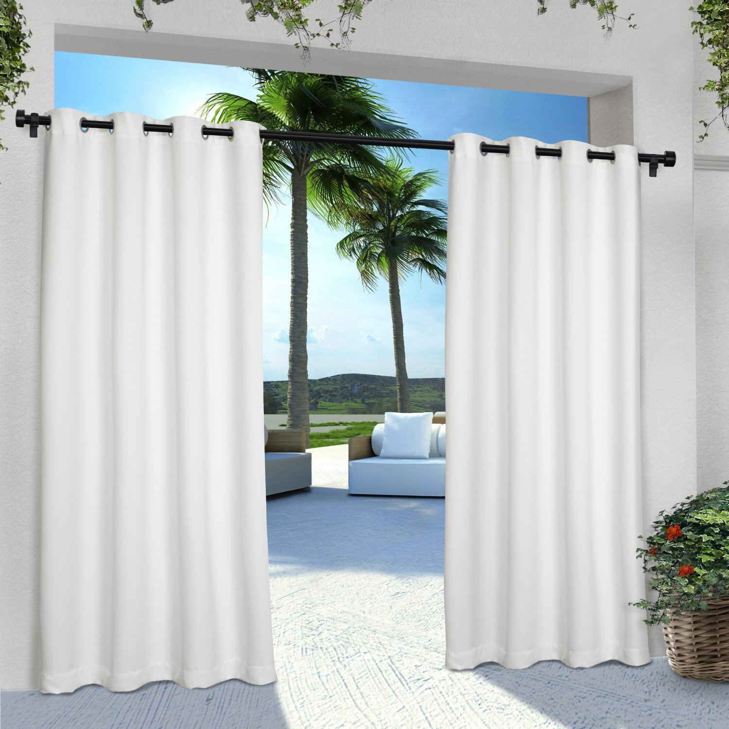 Exclusive Home Curtains Indoor/Outdoor Solid Cabana Grommet Top Window Curtain Panel Pair, Winter White