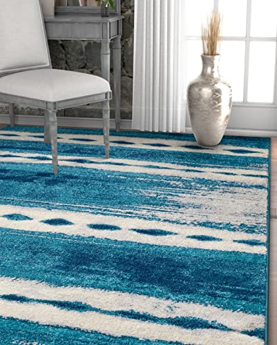 Well Woven Merzouga Nights Moroccan Stripes Blue Area Rug 8×11 7'10″ x 10'6″ Soft Plush Traditional Tribal Diamond Carpet