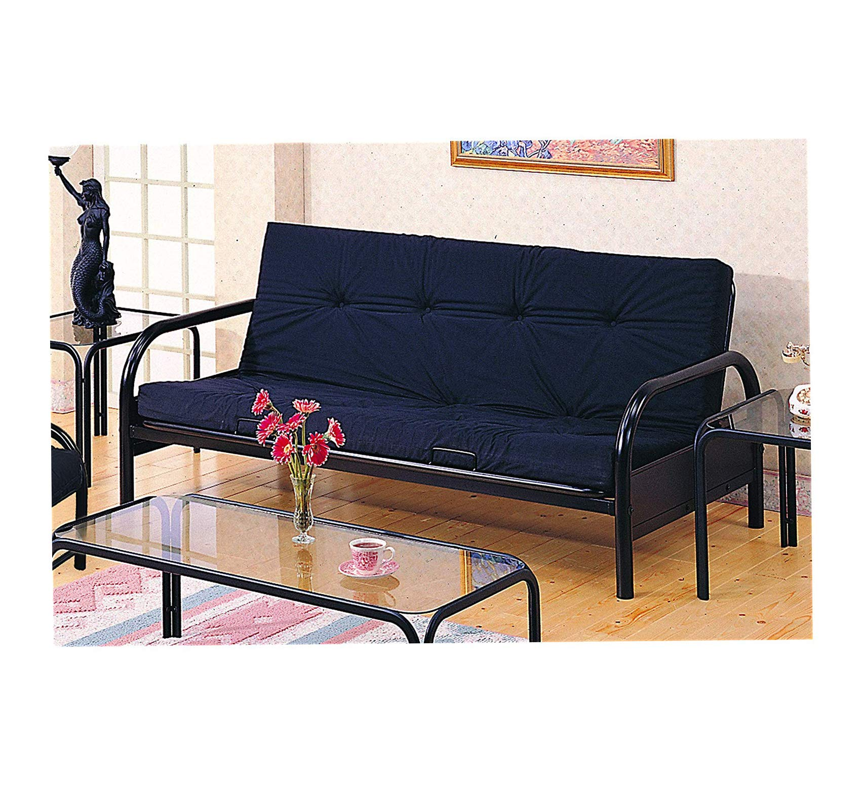 Wood & Style Home Metal Futon Frame Glossy Black Office Décor Studio Living Heavy Duty Commercial Bar Café Restaurant by Wood & Style