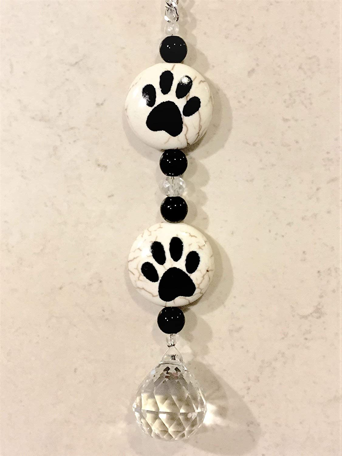 Rear View Mirror Crystal Car Charm,Animal Paw Print Sun Catcher,Dog Paw  Stone Hanging Prism,Crystal For Car Pet Print Ornament,Animal Dog Lover Gift