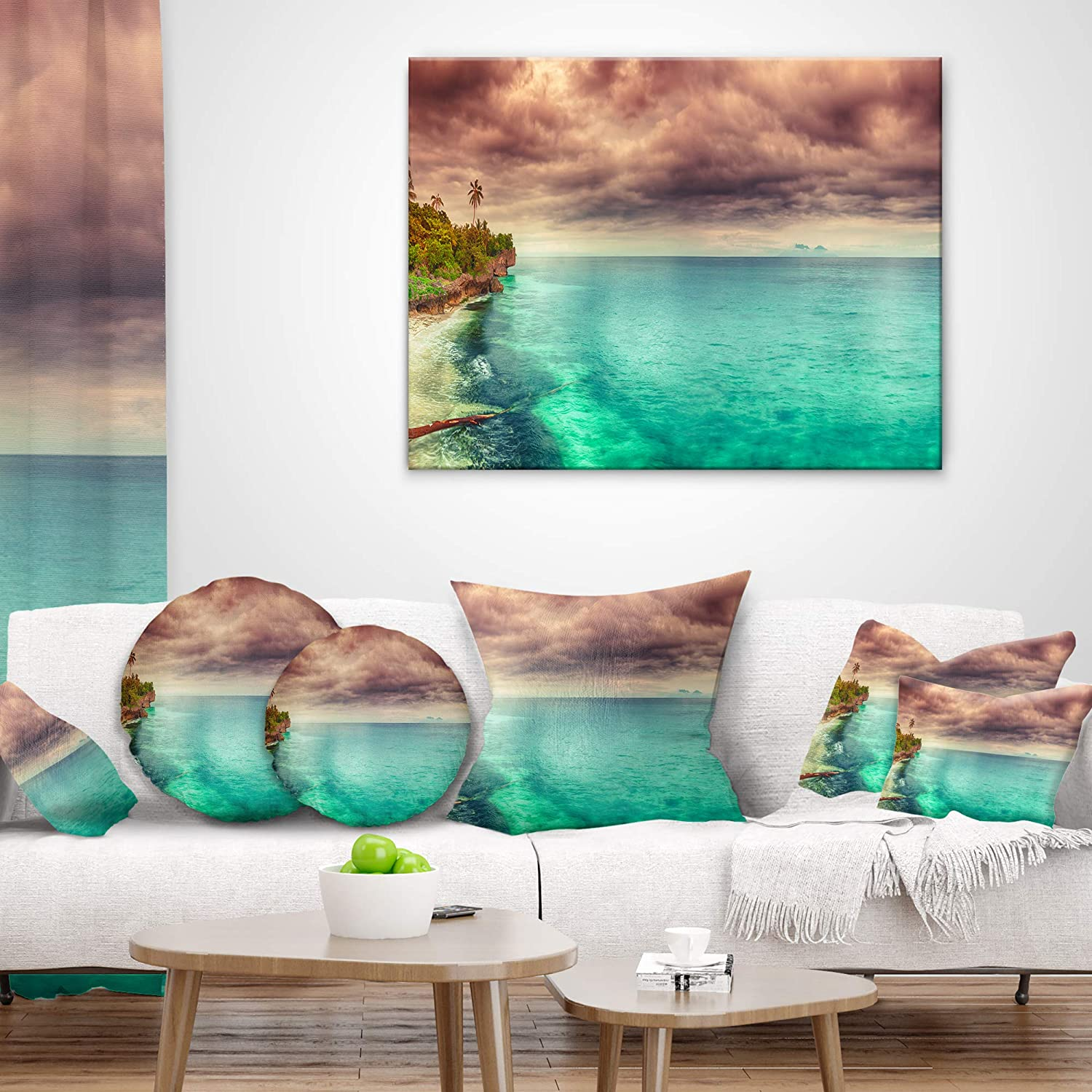 Sofa Throw Pillow 16 Designart CU9068-16-16-C Green Sunset Panorama View Seascape Photography Round Cushion Cover for Living Room