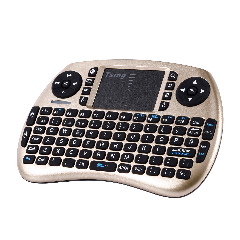 Tsing Mini Teclado Inalámbrico 2.4GHz (Disposición en Español) con ratón touchpad (Oro)
