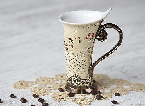 Handmade pottery coffee and tea set from Eastern Europe
