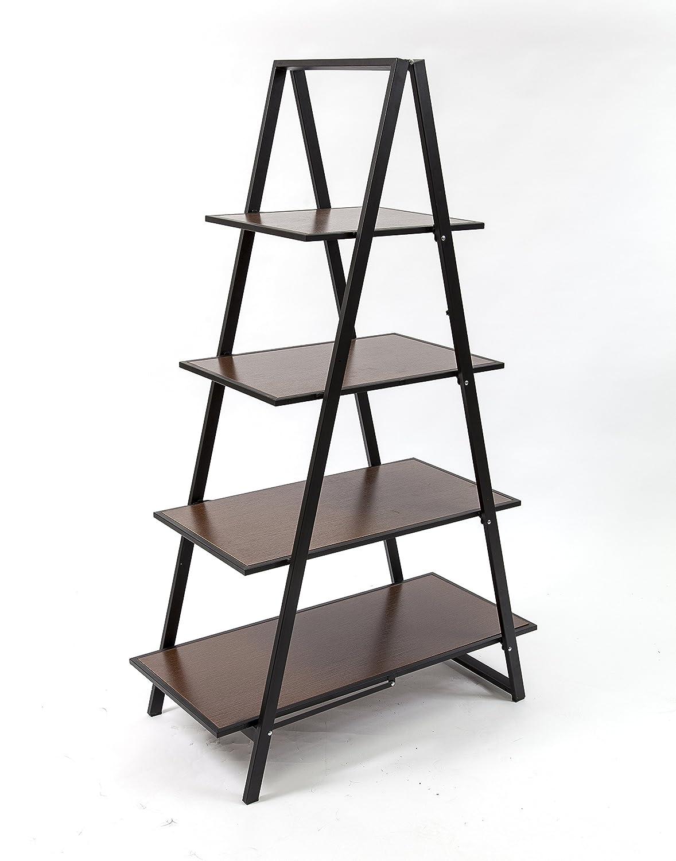 Origami Group 4 Shelf Wood A Frame Art Deco Bookshelf Rack Furniture, Espresso ADECO-ESP