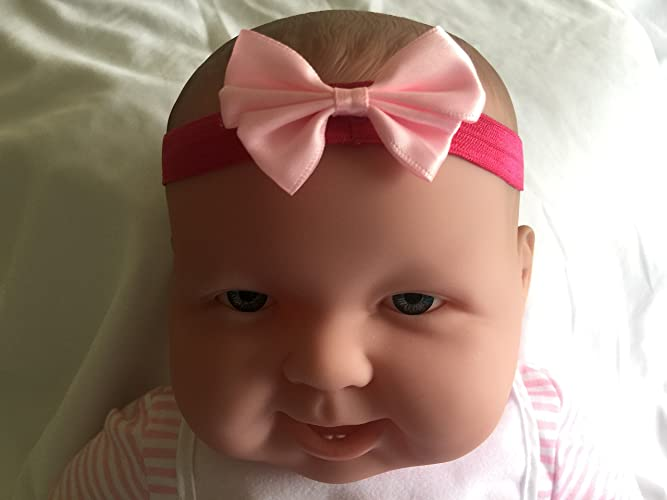 2acc7fd6d5c5 Amazon.com  Hot Pink Baby Headband With Light Pink Bow  Handmade