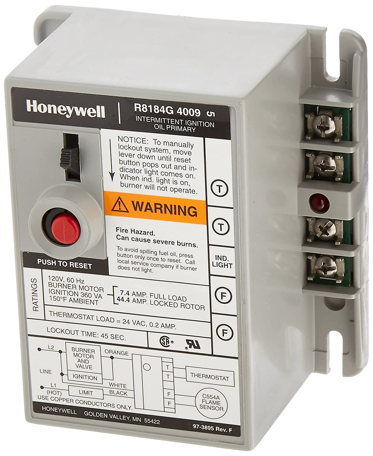 Honeywell R8184G4009 International Oil Burner Control - Household Furnace  Accessories - Amazon.com