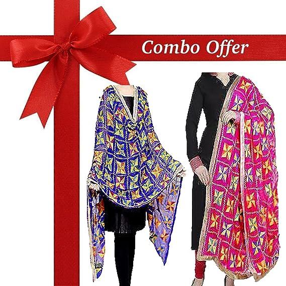 C&S Punjabi Phulkari Dupatta COMBO PACK (Pack OF 2) (Blue