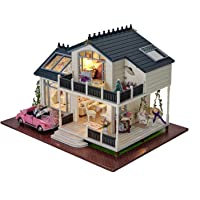 CUTEROOM DIY Miniature Dollhouse Kit with Furniture,Wooden Doll House Plus Music Movement & LED Lights Pink Car, 1:24…