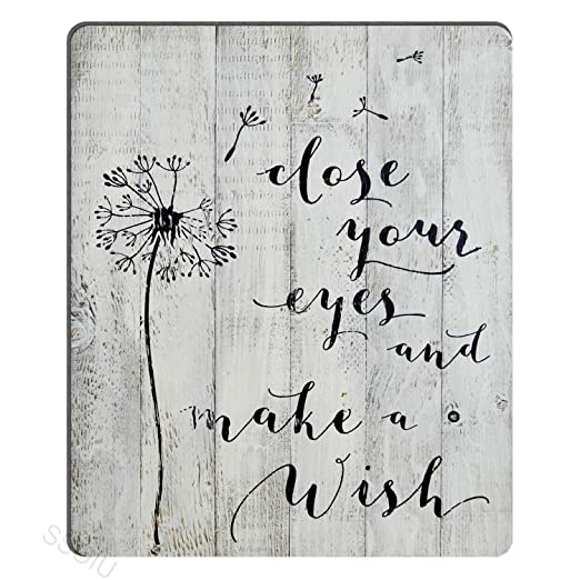 Rustic White Barn Wood Sign Antique Vintage Decor with Dandelion Floral Design Inspirational Quote Mouse Pad Gaming Mat SSOIU Close Your Eyes and Make A Wish