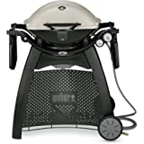 Weber Q-3200 Natural Gas Grill, Titanium, Electronic ignition, Infinite control burner valves, Removable folding work tables, Built-in lid thermometer