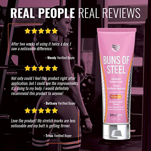 300a6b264a8 Amazon.com : SteelFit Buns of Steel Maximum Toning Cream with 4% Intenslim  : Beauty