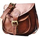 9836365d1 S&F Handmade Women Leather Vintage Style Genuine Brown Leather Cross Body  Shoulder Bag Purse