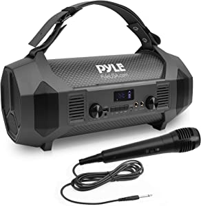 """Wireless Portable Bluetooth Boombox Speaker - 600W Rechargeable Boom Box Speaker Portable Barrel Loud Stereo System with AUX Input, USB, 1/4"""" Mic in, Fm Radio, Dual 4"""" Subwoofer - Pyle PBMSPG122"""
